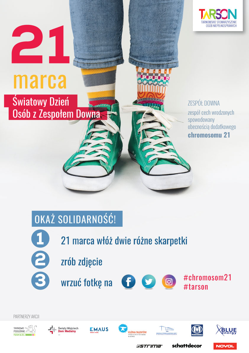 Plakat zapraszający do obchodzenia Światowego Dnia Osób z Zespołem Downa 21. marca